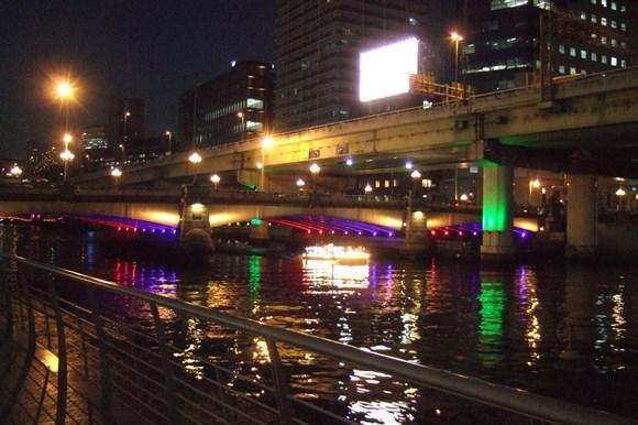 大阪光6・橋、船イルミ.JPG